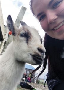 Taryn Leason with goat